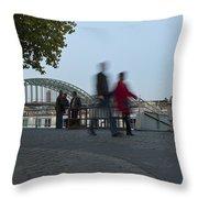 People Walk Along The Rhine River Throw Pillow