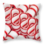 Peppermint Ribbon Candy Throw Pillow