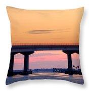 Perdido Bridge Sunrise Closeup Throw Pillow