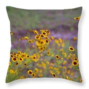 Perky Golden Coreopsis Wildflowers Throw Pillow