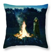 Person Standing By A Bonfire In The Moonlight Throw Pillow
