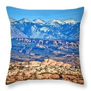 Petrified Dunes And La Sal Mountains Throw Pillow