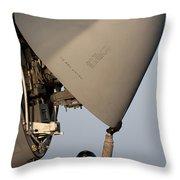 Petty Officer Inspects The Radar Of An Throw Pillow