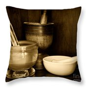 Pharmacy - Mortars And Pestles - Black And White Throw Pillow