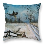 Pheasants In The Snow Throw Pillow