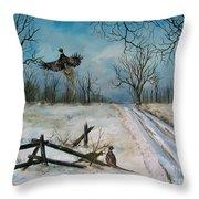 Pheasants In The Snow Throw Pillow