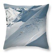Phil Atkinson Skiing The Dogtooth Range Throw Pillow