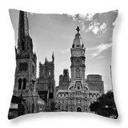 Philadelphia City Hall Bw Throw Pillow