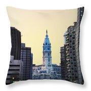 Philadelphia Cityhall At Dawn Throw Pillow