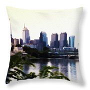 Philadelphia From The Banks Of The Schuylkill River Throw Pillow