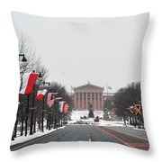Philadelphia Parkway In The Snow Throw Pillow