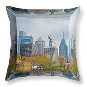 Philadelphia Skyline - Mirror Box Throw Pillow