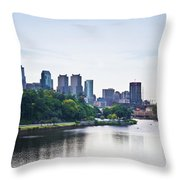 Philadelphia View From The Girard Avenue Bridge Throw Pillow by Bill Cannon
