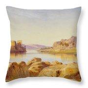 Philae - Egypt Throw Pillow by Edward Lear