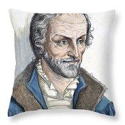 Philipp Melanchthon (1497-1560). German Scholar And Religious Reformer: Line Engraving, German, 19th Century Throw Pillow