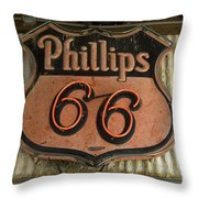 Phillips 66 Vintage Sign Throw Pillow