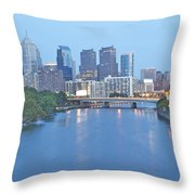 Philly In Blue Throw Pillow