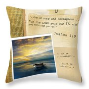 Photo Of Boat On The Sea With Bible Verse Throw Pillow
