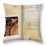 Photo Of Crucifix With Bible Verses. Throw Pillow