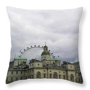 Photo Of London With London Eye In The Background Throw Pillow