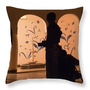 Photographers In Silhouette At A Heritage Building In Rajasthan In India Throw Pillow