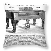 Piano Advertisement, 1874 Throw Pillow