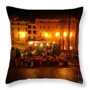 Piazza Flower Vendor Throw Pillow