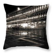 Piazza San Marco At Night Venice Throw Pillow