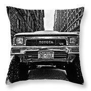 Pick Up Truck On A New York Street Throw Pillow