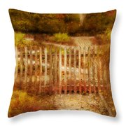 Picket Fence And Cottage Throw Pillow