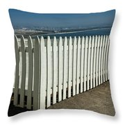 Picket Fence By The Cabrillo National Monument Lighthouse In San Diego Throw Pillow