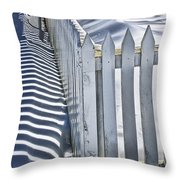 Picket Fence In Winter Throw Pillow