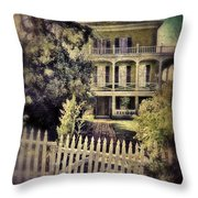 Picket Gate To Large House Throw Pillow