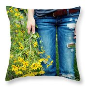Picking Flowers Throw Pillow by Kim Fearheiley