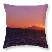 Picking Through The Bridge Sunset Throw Pillow