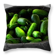 Pickling Cucumbers Throw Pillow by Ms Judi