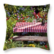 Picnic Table Among The Flowers Throw Pillow
