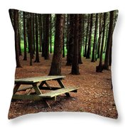 Picnic Table Throw Pillow by Carlos Caetano