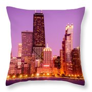 Picture Of Chicago Skyline By Night Throw Pillow