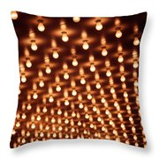 Picture Of Theater Marquee Lights Throw Pillow by Paul Velgos