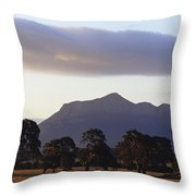 Picturesque Mountain Ranges Loom Throw Pillow