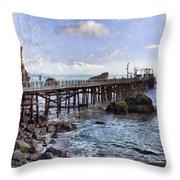 Pier Along Rocky Shore Throw Pillow