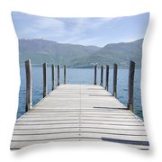 Pier And Snow-capped Mountain Throw Pillow