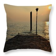 Pier And Sunset Throw Pillow