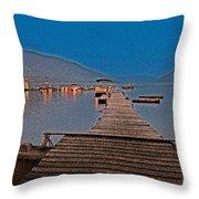 Pier At Night Throw Pillow