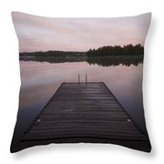 Pier, Lake Of The Woods, Ontario, Canada Throw Pillow
