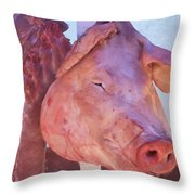 Pig In The Market Throw Pillow