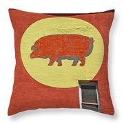 Pig On A Wall Throw Pillow