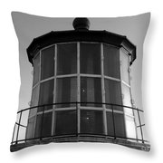 Pigeon Point Lighthouse Beacon - Black And White Throw Pillow