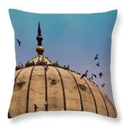 Pigeons Around Dome Of The Jama Masjid In Delhi In India Throw Pillow